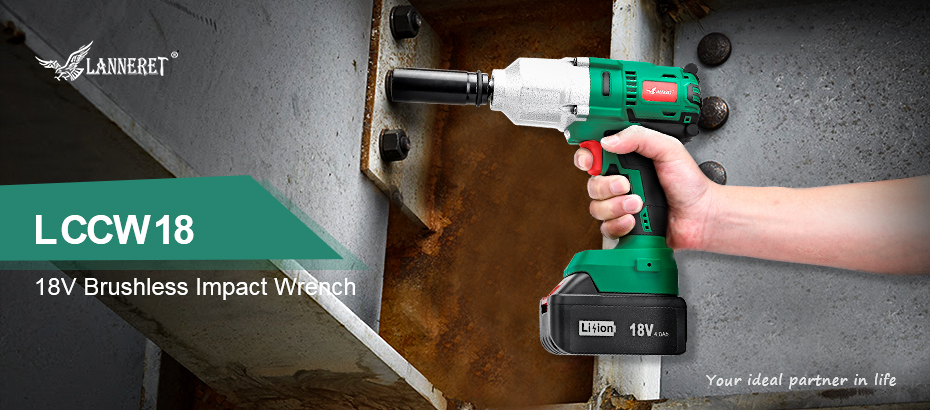LANNERET 18V Brushless Cordless Impact Electric Wrench 300-600N m Torque 1