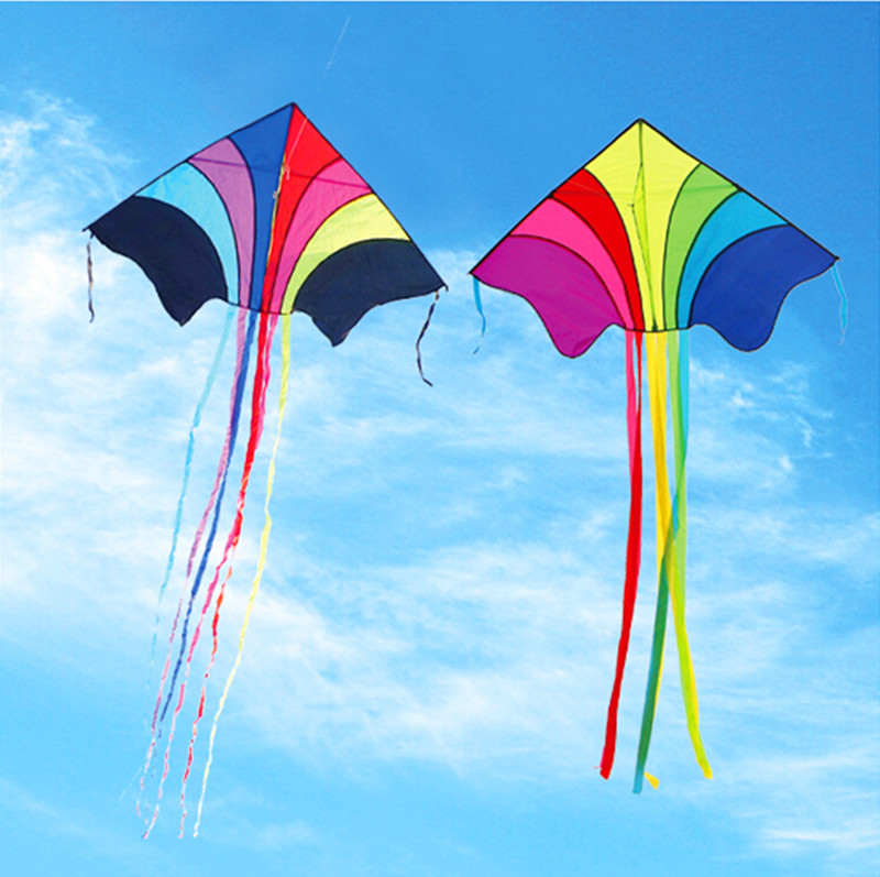 Купить с кэшбэком free shipping high quality 10pcs/lot rainbow kites with handle line outdoor toys weifang ripstop nylon tails delta kite wei kite