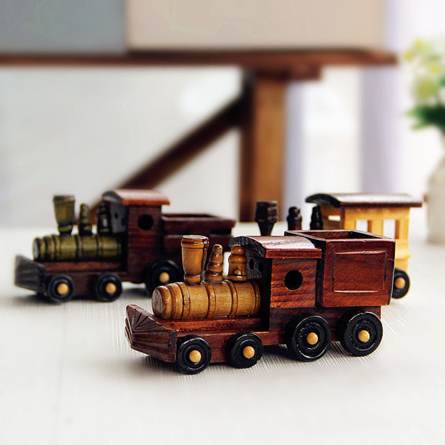Zakka grocery retro handmade wooden mini train model Home Furnishing ...