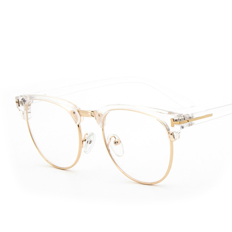 retro fashion woman men reading glasses metal half frame glasses frame uv protection clear lens computer