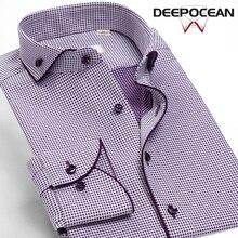 New Spring Men Shirts Long Cotton Brand Clothing Plaid Print Slim Fashion Caual Shirt Business Dress DDX86517L