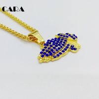 CARA New Iced Out Gold Color Zinc Alloy Praying Hands Pendant Necklace Christian Red Rhinestone Prayding
