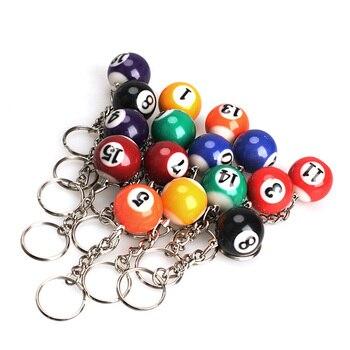 16 PCS Snooker Ball Set 25mm Ball Keychain Billard Pool Keyring Mode Schmuck Geschenk M8694