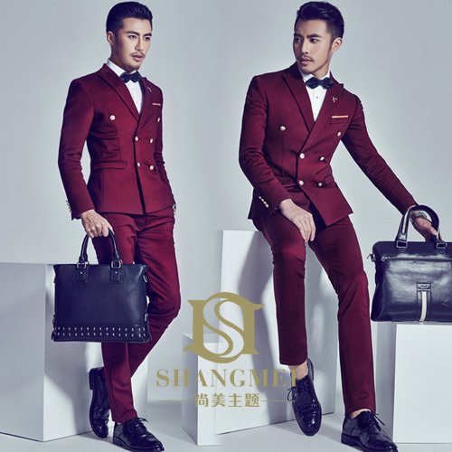 New Arrival British Retro Style Solid Color Double Breasted  2-piece Set Personality Groom Suit / Wedding Photography Suit  850