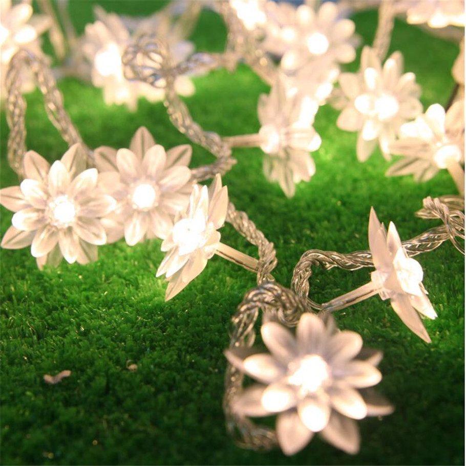 Ac 5m 28 Led Lamps Lotus Flower String Fairy Lights Holiday Lighting