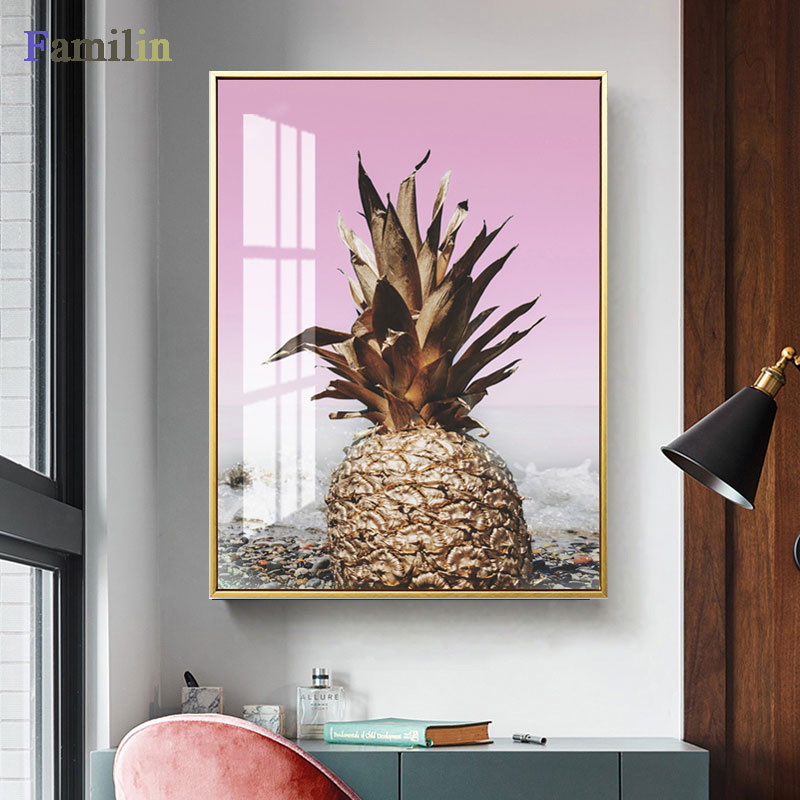 HTB1QvRARHrpK1RjSZTEq6AWAVXa6 Green And Gold Pineapple Monstera Plant Painting Large Leaf Poster Print Wall Art For Living Room Aisle Unique Modern Decoration