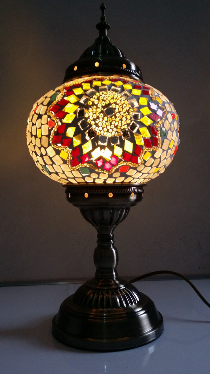 Turkish Moroccan Style Mosaic Glass Table Lamp Hand Craft