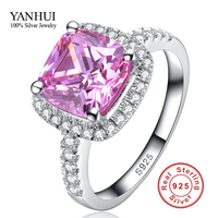 Big 92 OFF Fine Jewelry Pure 925 Sterling Silver Engagement Ring Set 3 Carat Pink CZ