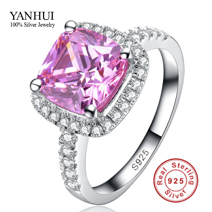 fine jewelry pure 925 sterling silver engagement ring set 3 carat pink cz diamant wedding rings for women jzr068 - Pink Wedding Ring Set