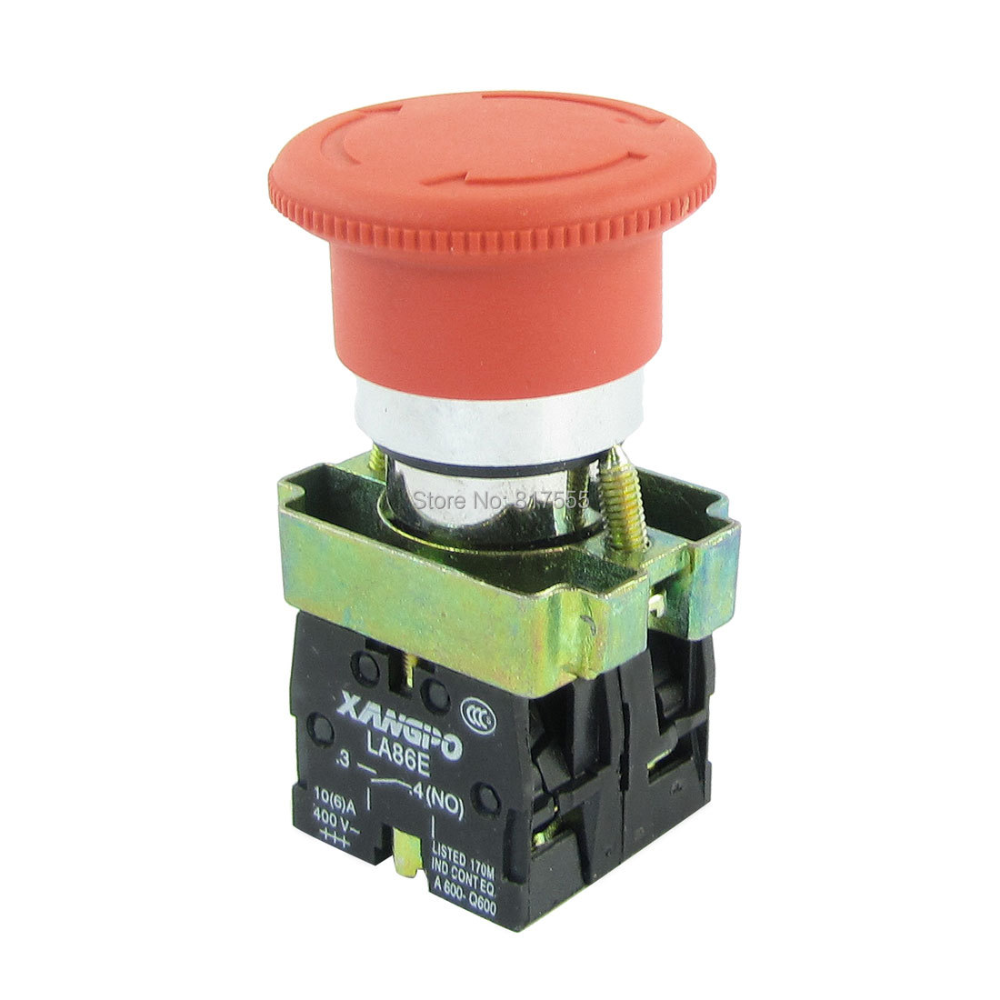 Red Mushroom Head 4-Terminal 1NC+1NO Emergency Push Botton Switch AC 400V 10A