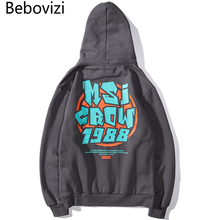 Bebovizi Men Hip Hop Hoodie Sweatshirt Graffiti Print 2019 Streetwear Harajuku Pullover Sweat Shirt Black Gray Autumn