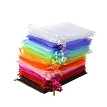 50pcs 9*12cm Organza Drawstring Gift Bags Wedding Favor Bags Jewellery Pouches (Random Color)(China)