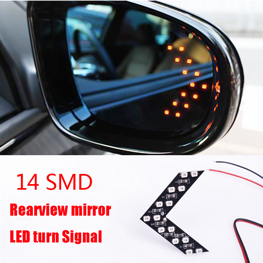 New 2Pcs 14 SMD LED Arrow Panel For Car Rear View Mirror Indicator Turn Signal Light FOR audi a4/kia rio/bmw e39/bmw e46/ford DH 1pcs universal car amber arrow panel yellow 14 smd led car side mirror rear view indicator turn signal light lamp