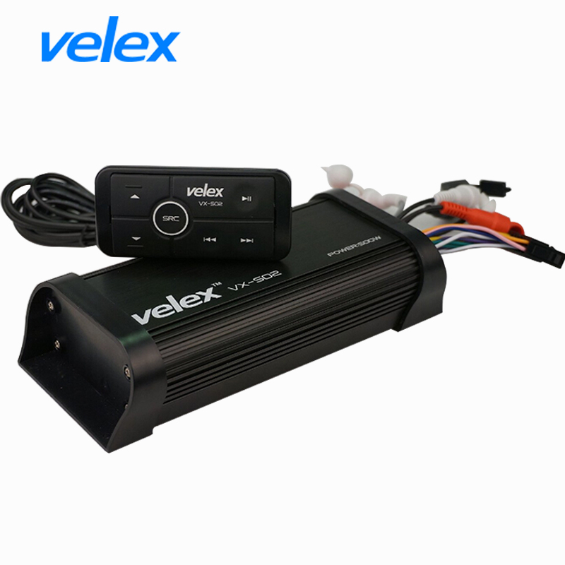 Waterproof Marine Bluetooth Amplifier with USB AUX Audio Streaming Music Smart Phone Charging for UTV ATV Motorcycle Boat