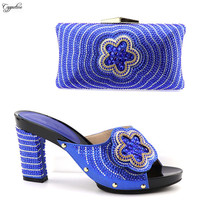 Excellent royal blue slipper high heel shoes matching with bag set for fashion lady 2088 15 multi color
