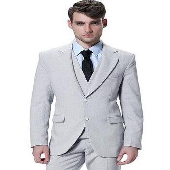 2017 Custom Made Handsome Slim Fit Ball Gowns Men's 3 Piece Slim Two Buttons Fit Groom Men's Suit (jacket+ Pants+vest+tie)