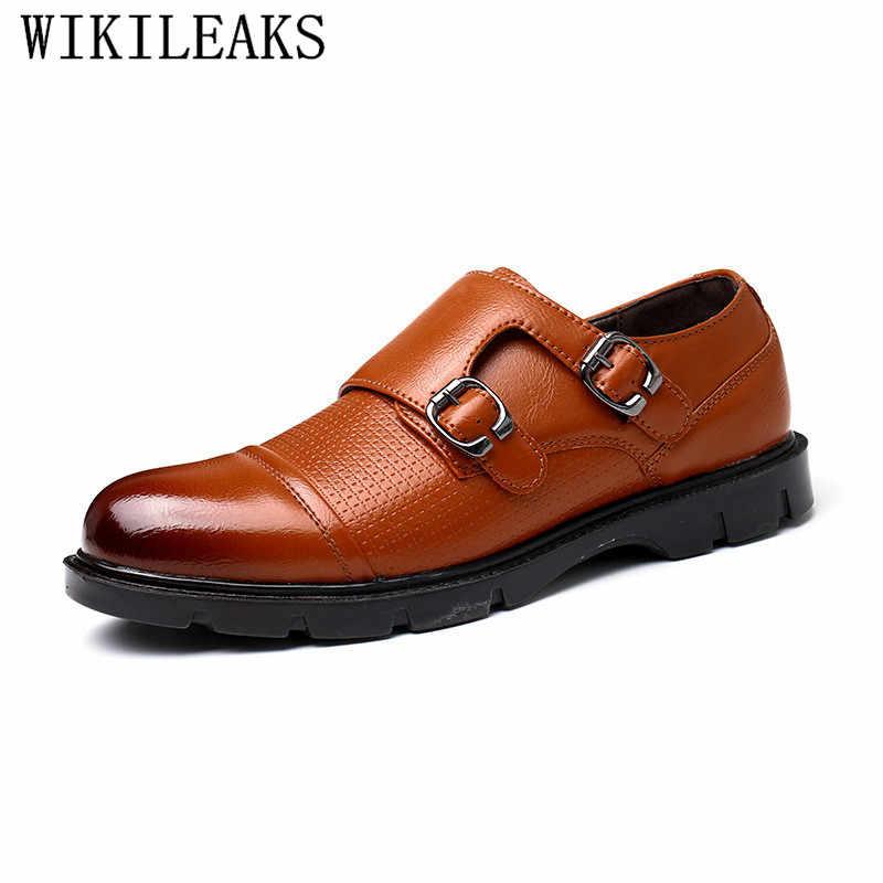 Italyan erkek elbise ayakkabı keşiş askısı düğün ayakkabı erkekler için 2019 parti resmi ayakkabı erkekler zapatillas de vestir hombre sapato sosyal