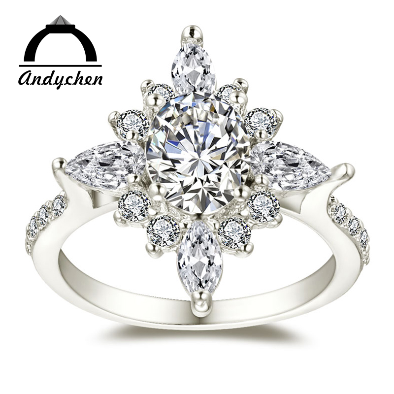 AndyChen Noble White Gold Color Wedding flower Engagement Rings for Women Clear AAA Zircon Jewelry Bague Bijoux Size 6 7 8 H842