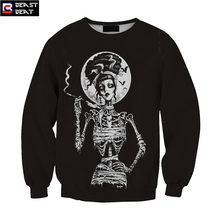 2017 New Halloween Creative Skeleton Smoking Sweater Men Women Training Exercise Beast Beat Sports Warm Windproof Gift Sweater