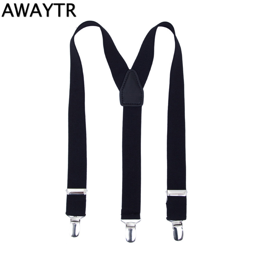 AWAYTR High Quality Suspenders Kids Elastic Baby Suspenders 60cm Adjustable Braces Leather Straps with 3 Clips Wedding School