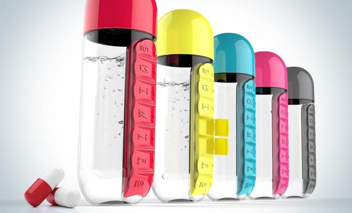 600ml Sports Plastic Water Bottle Combine Daily Pill Boxes Organizer Drinking Bottles Leak Proof Bottle Tumbler Innrech Market.com