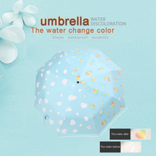 цены When the water changes color small fresh clear sunny rain double - folded umbrella black plastic umbrella