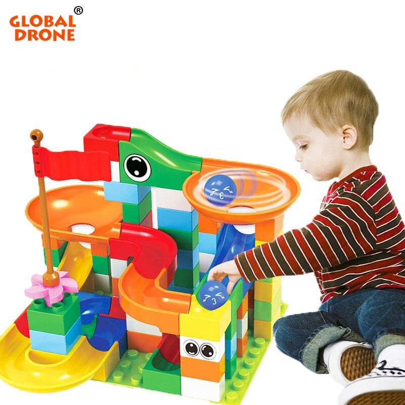 Global Drone 74PCS/148PCS/222PCS Building Blocks Compatible LegoING Ball Path Slide Children Toys Track Building Big Block(China)