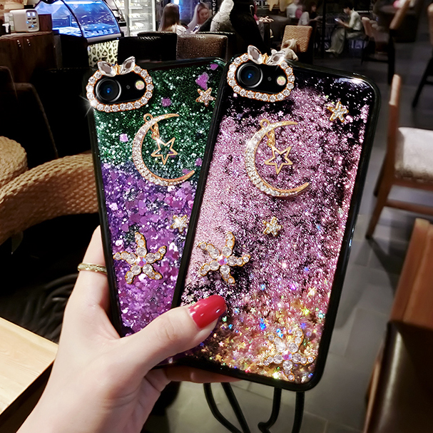 Romantic Y Liquid Glitter Sand Mobile Phone Cases For Huawei Ascend Y530 C8813 4.5 Heart Sequins Dynamic Plastic Half-wrapped Case Phone Bags & Cases Soft Edge+rope Diyabei Matching In Colour