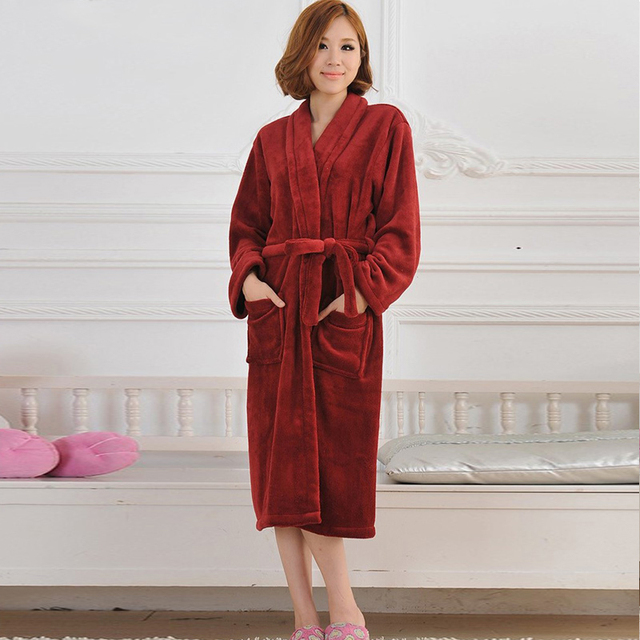 Women Men Flannel Bath Robe Sleepwear Autumn Winter Solid Plush Couple Bathrobe Thick Warm Female Robes