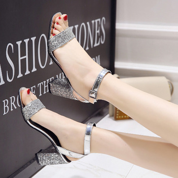 FRALOSHA New Ladies High Heel Sandals Fashion Bling Ankle Straps Shallow Mouth Wedding Shoes Black Silver Square Heels - discount item  14% OFF Women's Shoes