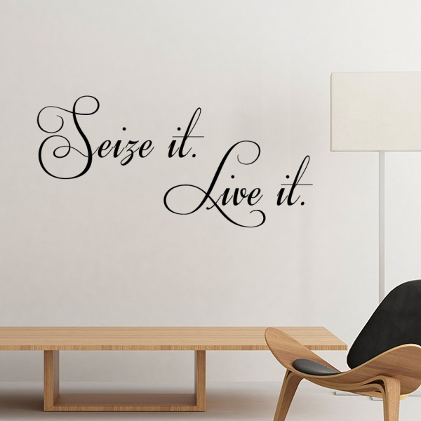 Famous Poetry Quote Seize It Live It Silhouette Removable Wall Sticker Art Decals Mural DIY Wallpaper for Room Decal