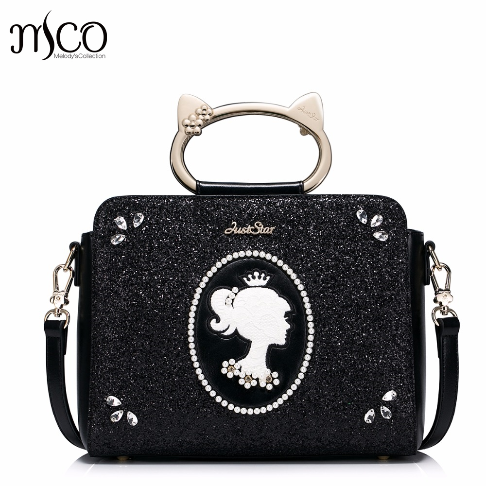 Brand Design Cat Handle Ring Pearls Diamonds Fashion PU Women Leather Girls ladies Ladies Handbag Shoulder Crossbody Bags bolsos just star brand new design fashion pearls bow pets printing pu women leather girls ladies handbag shoulder bag cross body bags