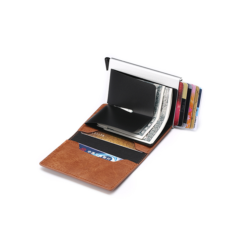 ZOVYVOL RFID Blocking Aluminum Single Box Card Holder Smart Crazy Horse PU Leather Card Wallet Multifunction Slim men wallet in Wallets from Luggage Bags