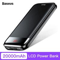Baseus 20000mAh Power Bank For iPhone Xiaomi Portable LCD Powerbank External Battery Pack USB Type C PD Fast Charging Poverbank