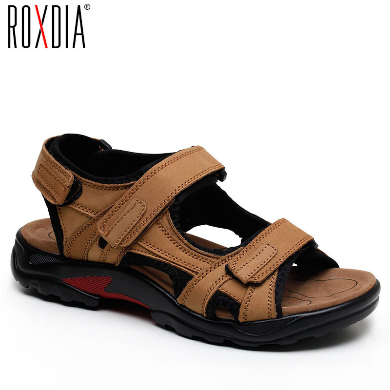 ROXDIA New Fashion Breathable Men Sandals Genuine Leather Summer Beach Shoes Men Slippers Causal Shoes Plus Size 39-48 RXM006(China)