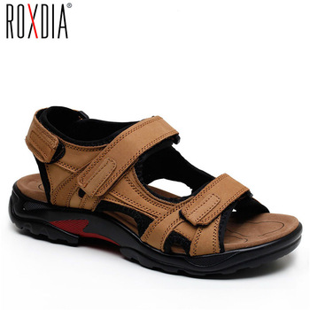 ROXDIA New Fashion Breathable Men Sandals Genuine Leather Summer Beach Shoes Men Slippers Causal Shoes Plus Size 39-48 RXM006
