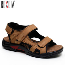 Buy ROXDIA New Fashion Breathable Men Sandals Genuine Leather Summer Beach Shoes Men Slippers Causal Shoes Plus Size 38-45 RXM006 directly from merchant!