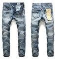 Moda ripped jeans hombres jeans de marca famosa dsq wholesale retail nueva deshilachados hombres motorista de mezclilla delgados rectos pantalones vaqueros masculinos