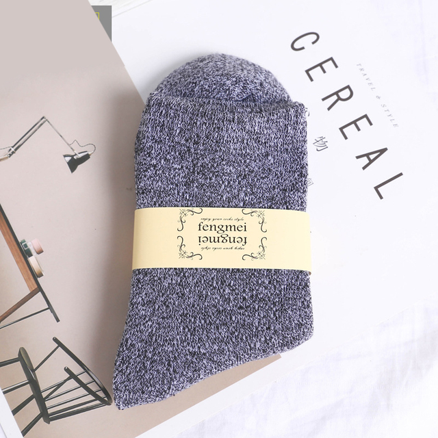 New Business Dress Crew Socks Solid Colour Sokken Winter Sox Casual Fashion Cotton Socks High Quality Warm Thick Men's Socks