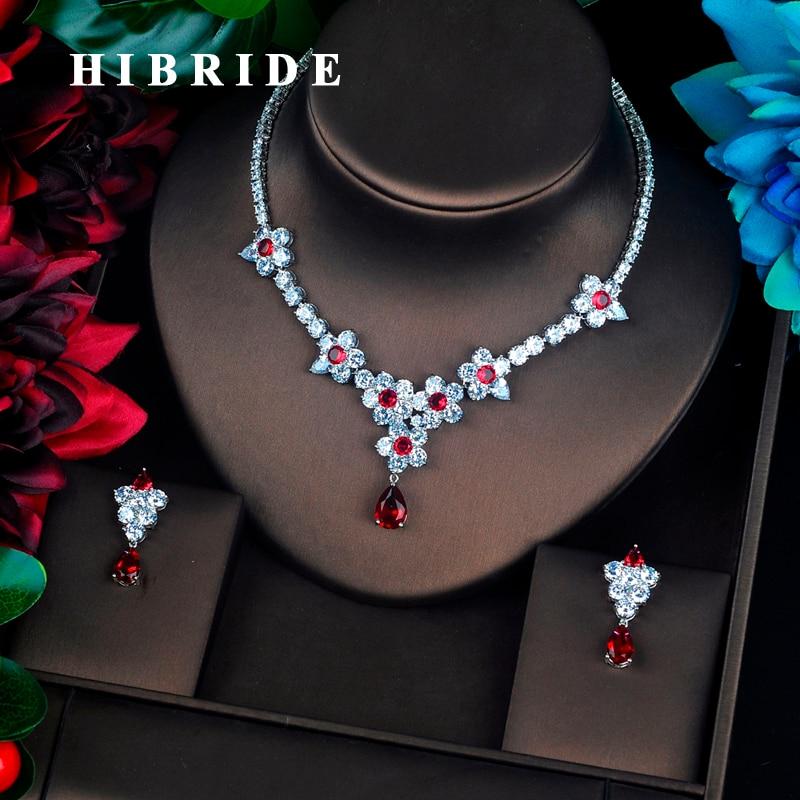 HIBRIDE Fashion Beautiful Flower Full Cubic Zircon Bridal Jewelry Set Wedding Accessories boucles d oreilles pour
