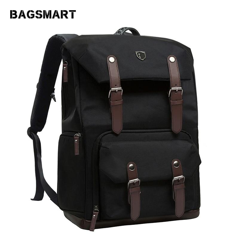 BAGSMART Canvas Leather Retro Camera Bag NATIONAL GEOGRAPHIC NG5070 Camera Backpack Black Travel Camera Backpack Photography