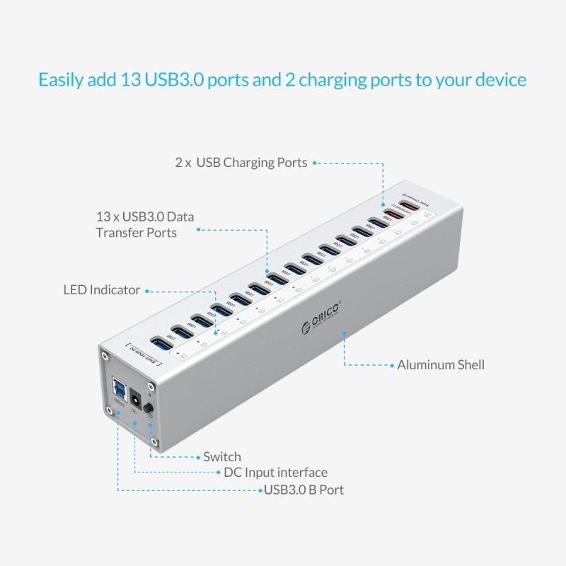 ORICO A3H13P2 SV aluminium 13 Ports Multi USB3.0 répartiteur de moyeu avec 2 Ports de charge 5V2. 4A Super chargeur/5V1A universel argent - 2