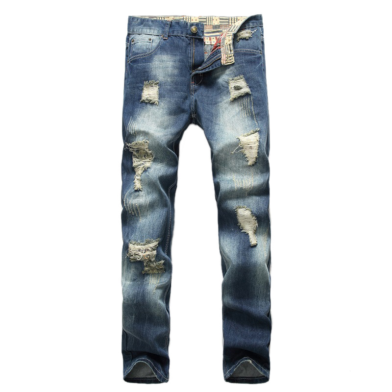personality Hole  Nostalgia Europe and the United States Straight Men jeans  цены онлайн
