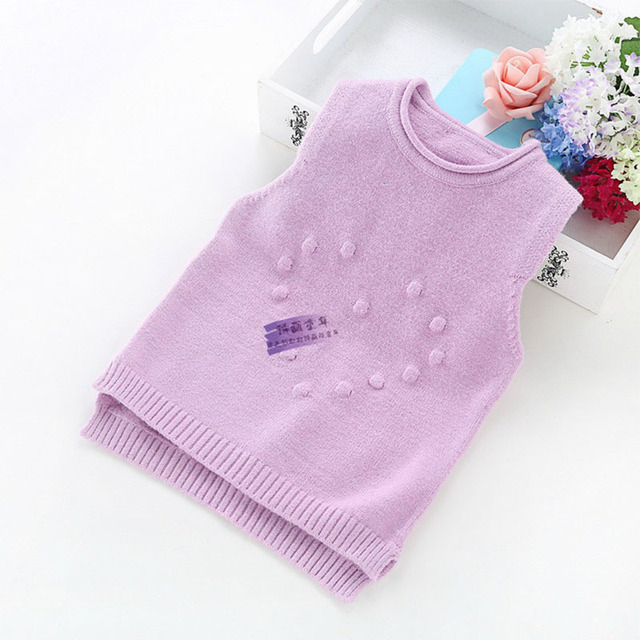 Sweaters for Girls Kids Knitted Sweaters Vest Infant Cotton Children Baby Waistcoat Sleeveless 2017 O-Neck YD073