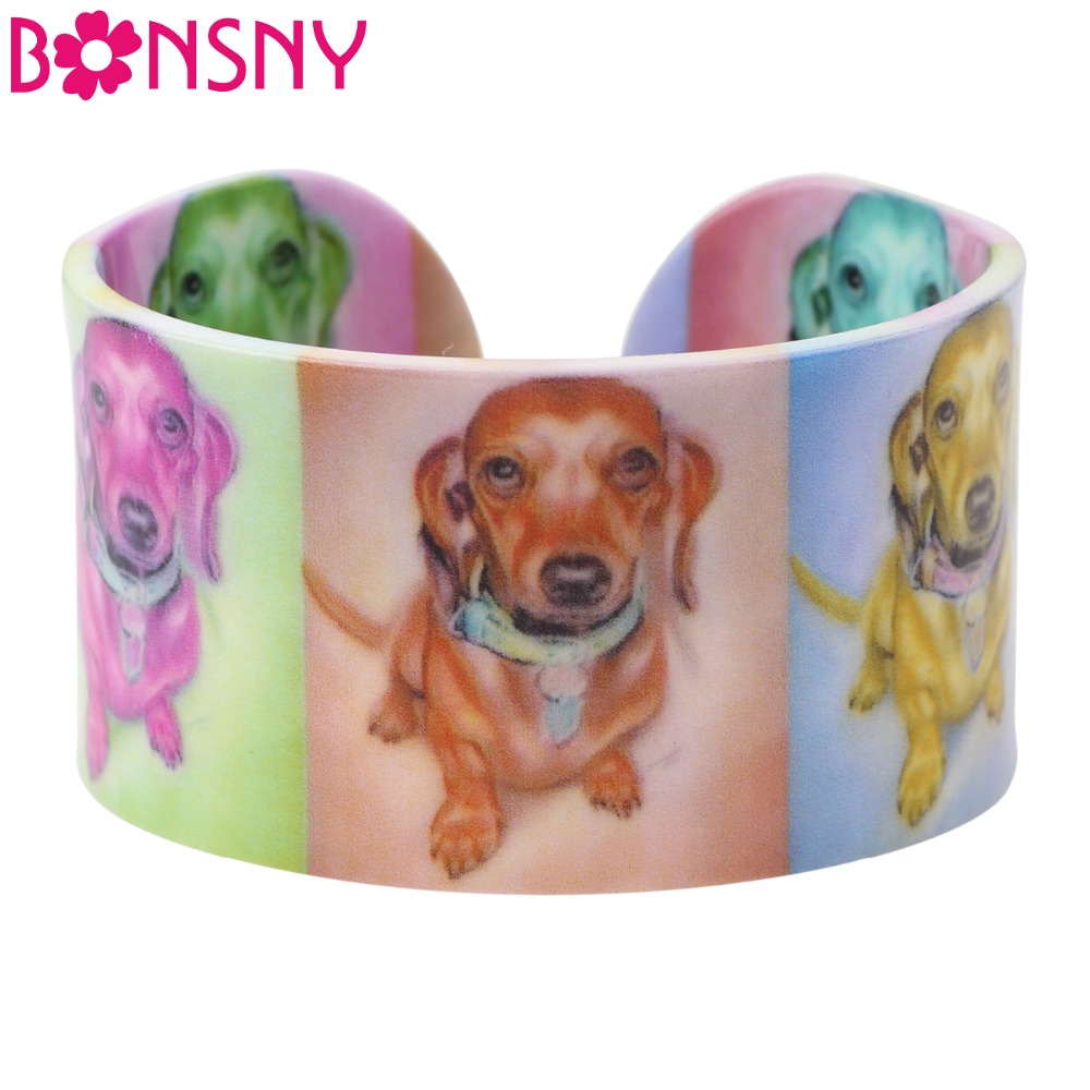 Bonsny Acrylic Long Haired Dachshund Dog Bangle News Jewelry Spring Summer Bracelets