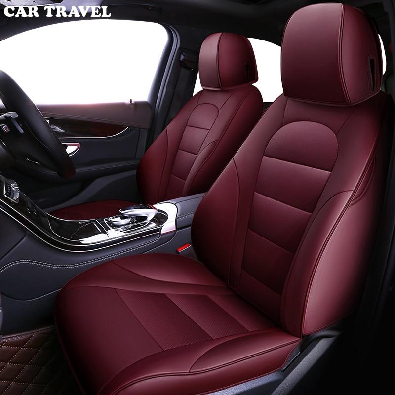 CAR TRAVEL Custom Genuine Leather Car Seat Cover For Toyota Prado Chr Auris Wish Aygo Prius Camry 40 50 Sienna Auto Accessories