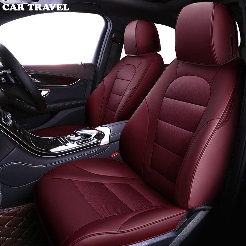 VOITURE VOYAGE Personnalisé Véritable housse de siège de voiture en cuir pour Toyota Prado chr auris envies aygo prius avensis camry 40 50 auto accessoires