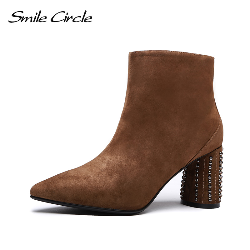 Smile Circle High-quality Ankle Boots For Women Genuine Leather Pointed toe Short Boots 2018 Autumn winter Ladies Shoes цена 2017