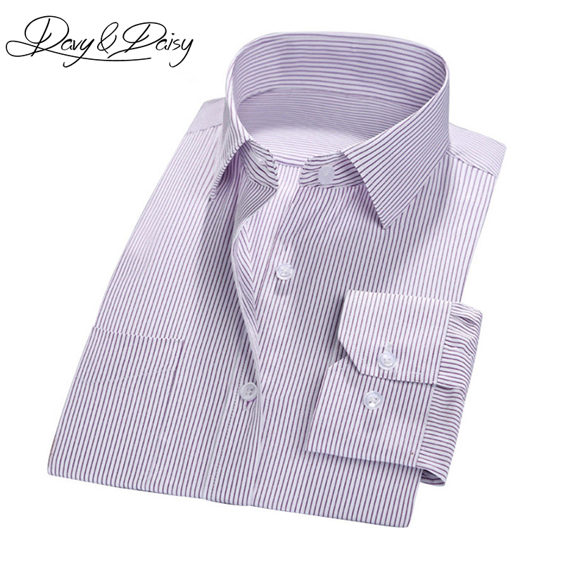DAVYDAISY High Quality Men Social Shirts Business Gentleman Twill Solid Stripe Formal Dress Shirts Men Clothing Camisas DS-137