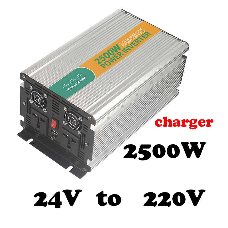 2500w 24V to 220v high effi.24vdc 220vac electric power inverter converter off grid type ups /home inverter with charge